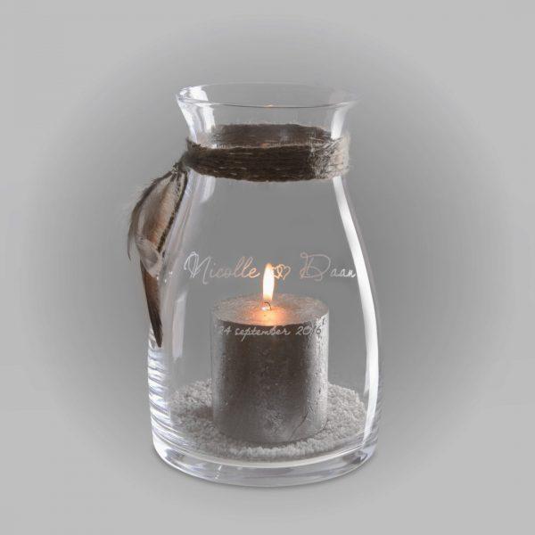 Herinnering in glas windlicht trouwen