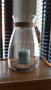 Herinnering in glas, windlicht voor bruiloft